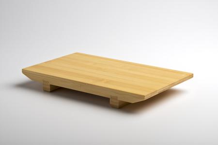 Japanese bamboo sushi tray isolated on white background