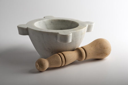 Empty white Stone mortar for Genoese pesto