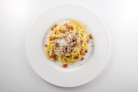 Top view of Pasta dish Spaghetti carbonara with cheese