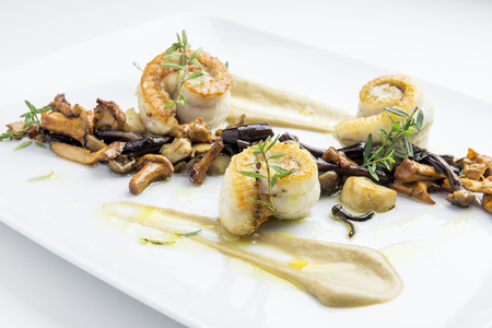 Isolated Fish dish sole fillets rolled with mixed mushrooms Stock Photo