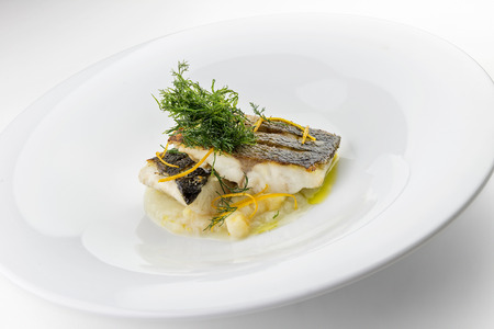 Isolated Plate with slices of sea bass fillets on mashed vegetables
