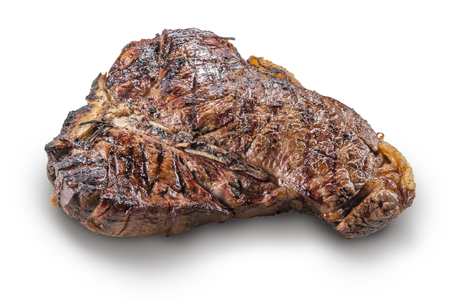 Whole grilled T-bone steak isolated on white background