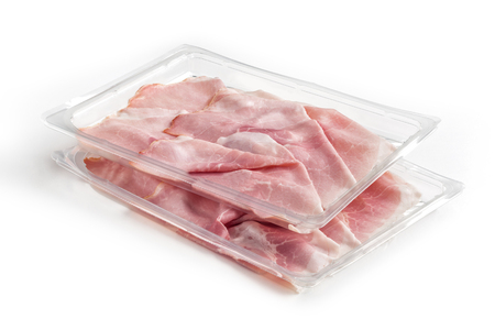 Two overlapping transparent trays of presliced Baked ham