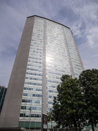 Milan, Italy - May 25, 2019: Pirelli skyscraper by architect Giò Ponti, an old symbol of Milan in the 1960s, but still a modern design