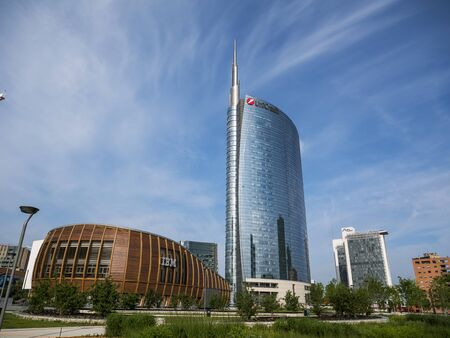 Milan, Italy - May 25, 2019: Unicredit tower new architecture of the new business district of Milan Editorial