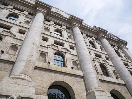 Milan, Italy - May 25, 2019: Mezzanotte Palace facade in Milan Stock Exchange, symbol and heart of Italian finance