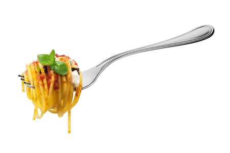 Isolated Fork with spaghetti pasta mozzarella aubergine tomatoes and basil on white Stock Photo
