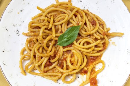 Detail of Plate with Tuscan pici pasta with garlic and tomato