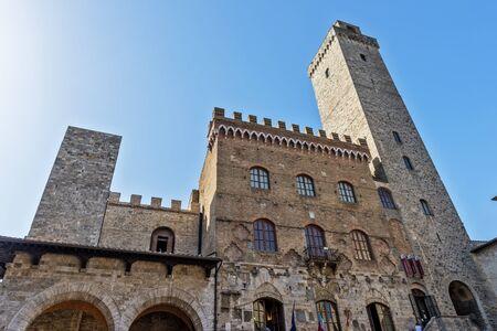 San Gimignano Siena Tuscany town hall and big tower