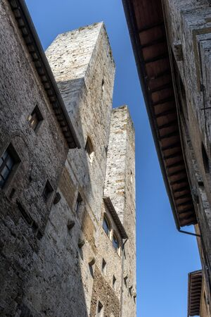 Perspective view of San Gimignano Siena Tuscany Salvucci towers