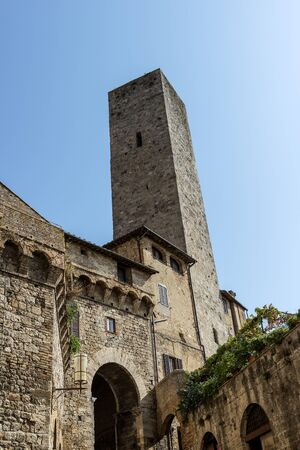 Partial view of San Gimignano Siena Tuscany tower of the Becci