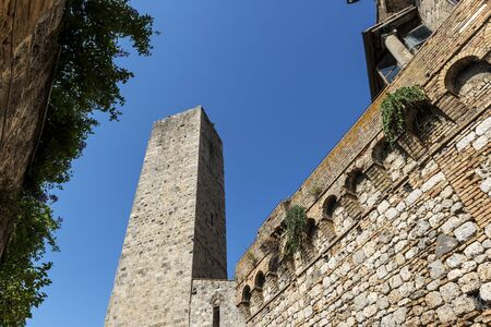 Partial view of San Gimignano Siena Tuscany tower of the Cugnanesi