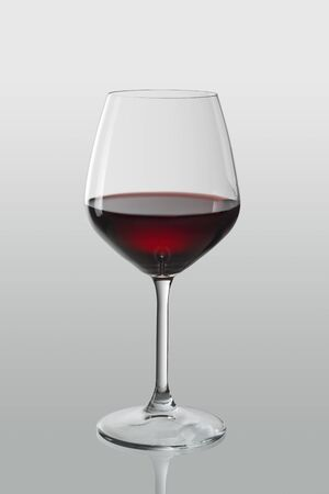 Red wine in an elegant glass with clipping path