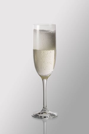 Goblet flute with sparkling wine isolated