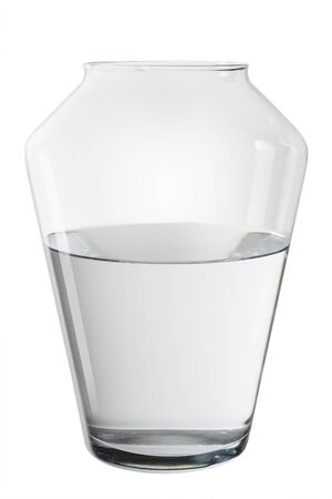 Vase with water on white