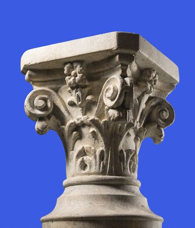 Isolated Corinthian capital display banch witn clipping path