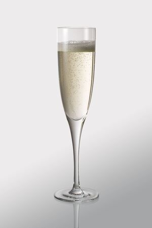 Goblet flute with sparkling wine isolated on white