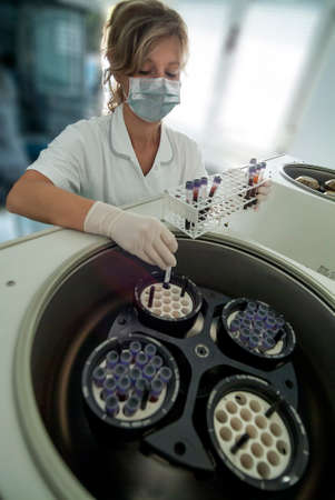 Milan, Italy - March 17, 2020: The operator inserts blood tubes into the centrifuge for medical analysis 報道画像