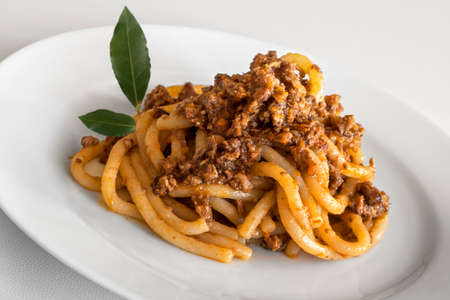 Dish of pici with wild boar ragout with bay leaves in white plate 写真素材