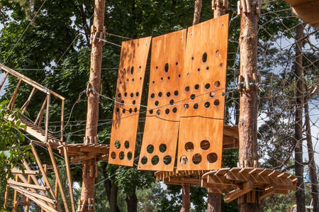 scrambling: Extreme hanging rope park in the middle of the forest for fun