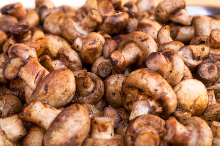 broiling: it is a lot of tasty fried mushrooms of shampyon a grill