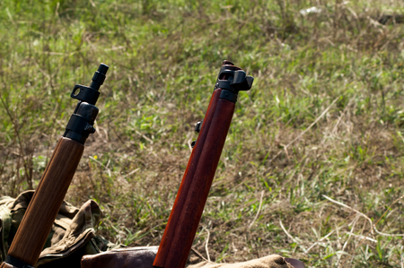 ii: Military rifles of World War II in the forest Stock Photo
