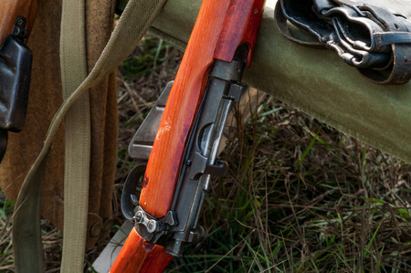 reenactmant: Military rifles of World War II in the forest Stock Photo