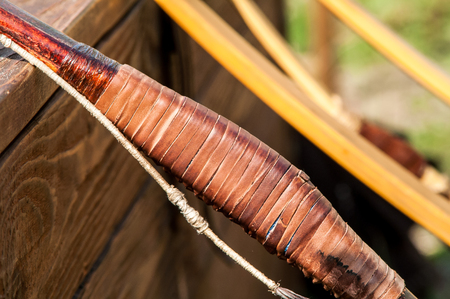 panoply: mediaeval historic wooden bow for shooting close-ups