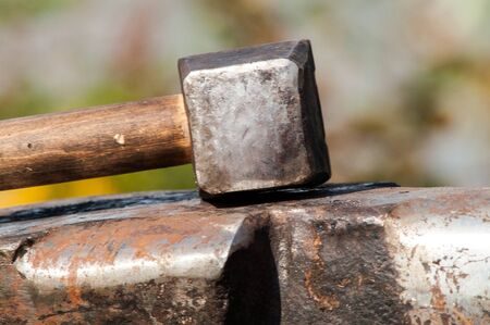 incus: medieval historical anvil and hammer at the festival reconstruction
