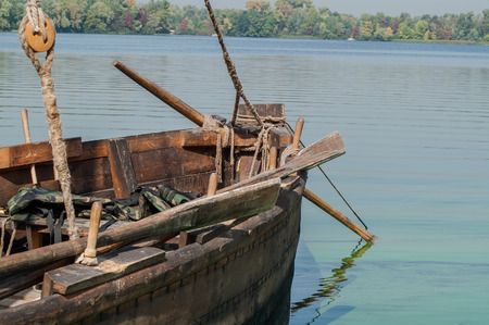oars: historic sailing boat with oars on the river Stock Photo
