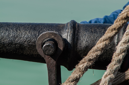 deck cannon: single vintage cannon on a ship Close-up Stock Photo
