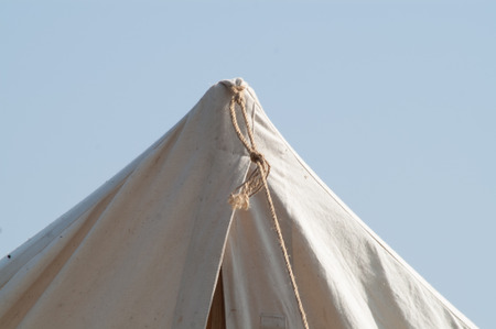 reconstruction: historic medieval holstyanoy, a cloth tent reconstruction holiday Stock Photo