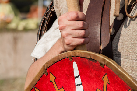 Historical reconstruction of a wooden shield on holiday