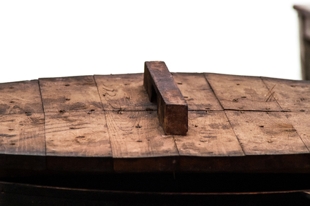 unclosed: wooden cover and a pan on a holiday Stock Photo