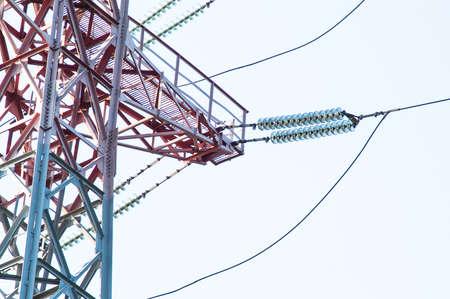 megawatt: High-voltage power lines against the sky