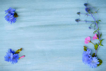 wildflowers on the blue wooden board Stock Photo