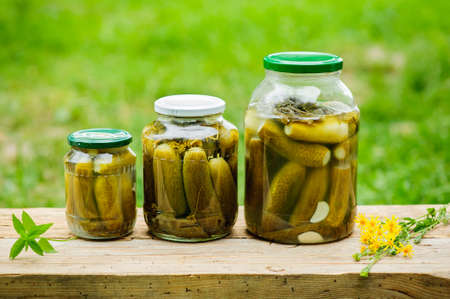 Homemade pickled cucumbers in glass jar