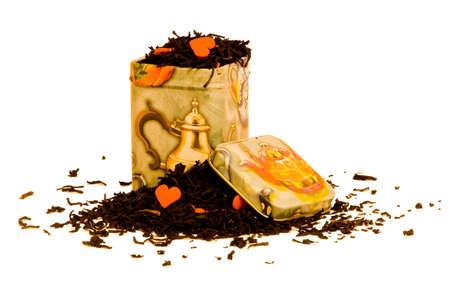 Leaf tea in a tin Stock Photo