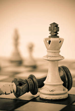 White king defeats brown king