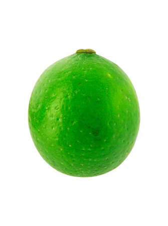 One fresh lime isolated on white background. Stock Photo