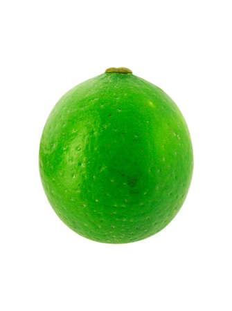 One fresh lime isolated on white background. Stock Photo