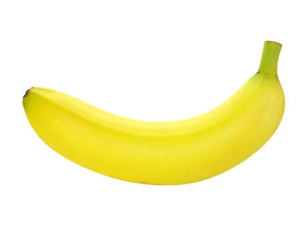 Single banana isolated on white background. Stock Photo