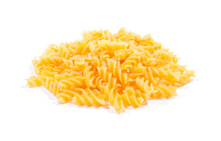 Yellow colorful macaroni isolated on white background.