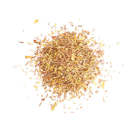 Small pile of the different dry herbs isolated on white background.