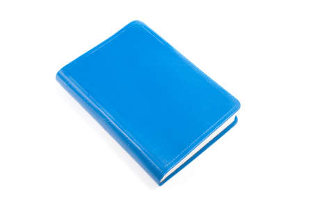 One blue book isolated on white background.