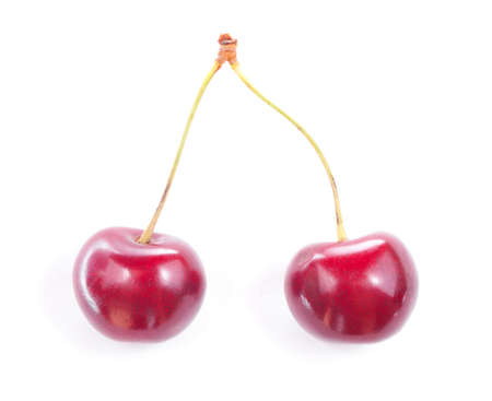 Two colorful red cherries isolated on white background. Stock Photo