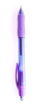 Single blue pen isolated on white background.