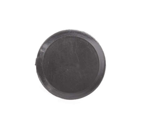 Single black button isolated on white background