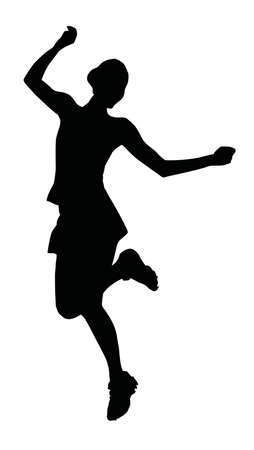 Silhouette of a young cheerful girl isolated on white background. Illustration