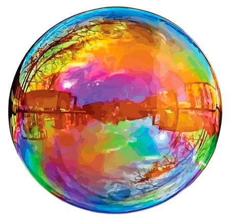 Large reflecting soap bubble isolated on white background. Illustration